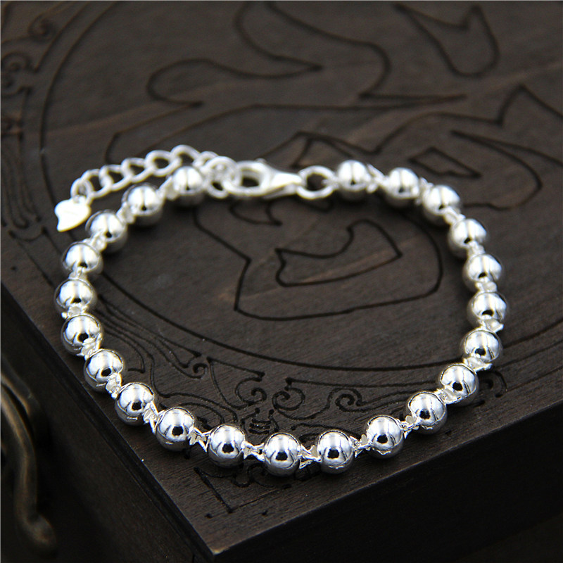 C&R Real 925 Sterling Silver bracelet Simple round beads bracelet men and women couple models Fine Jewelry