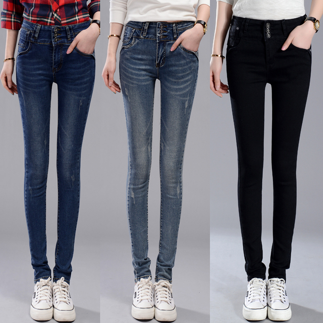 Aliexpress.com : Buy High Elastic Long Jeans three button Women ...