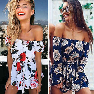 12c73bb61d6 New Fashion Women Summer Beach Floral Off Shoulder Long Sleeve Short  Jumpsuit Loose Bandage Party Clubwear