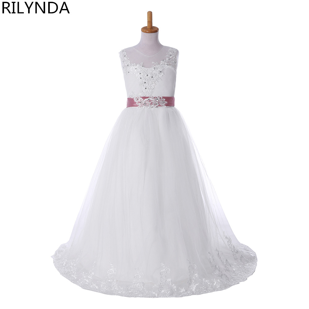 ٩(^‿^)۶Princess Flower Girl Dresses For Wedding Lace Appliques Beads ...