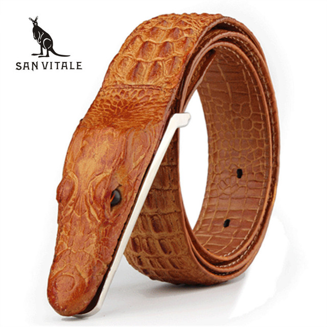 Mens' High Quality Aligator Shape Cow Leather Belt