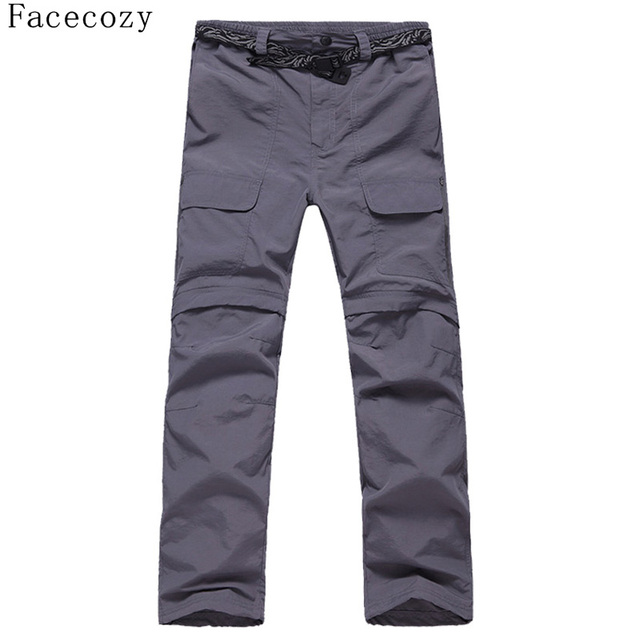 Facecozy Men Summer&Spring Quick Drying Hiking&Trekking Pants Male Removable Camping Pants & Outdoor Ultra-thin Trousers 2