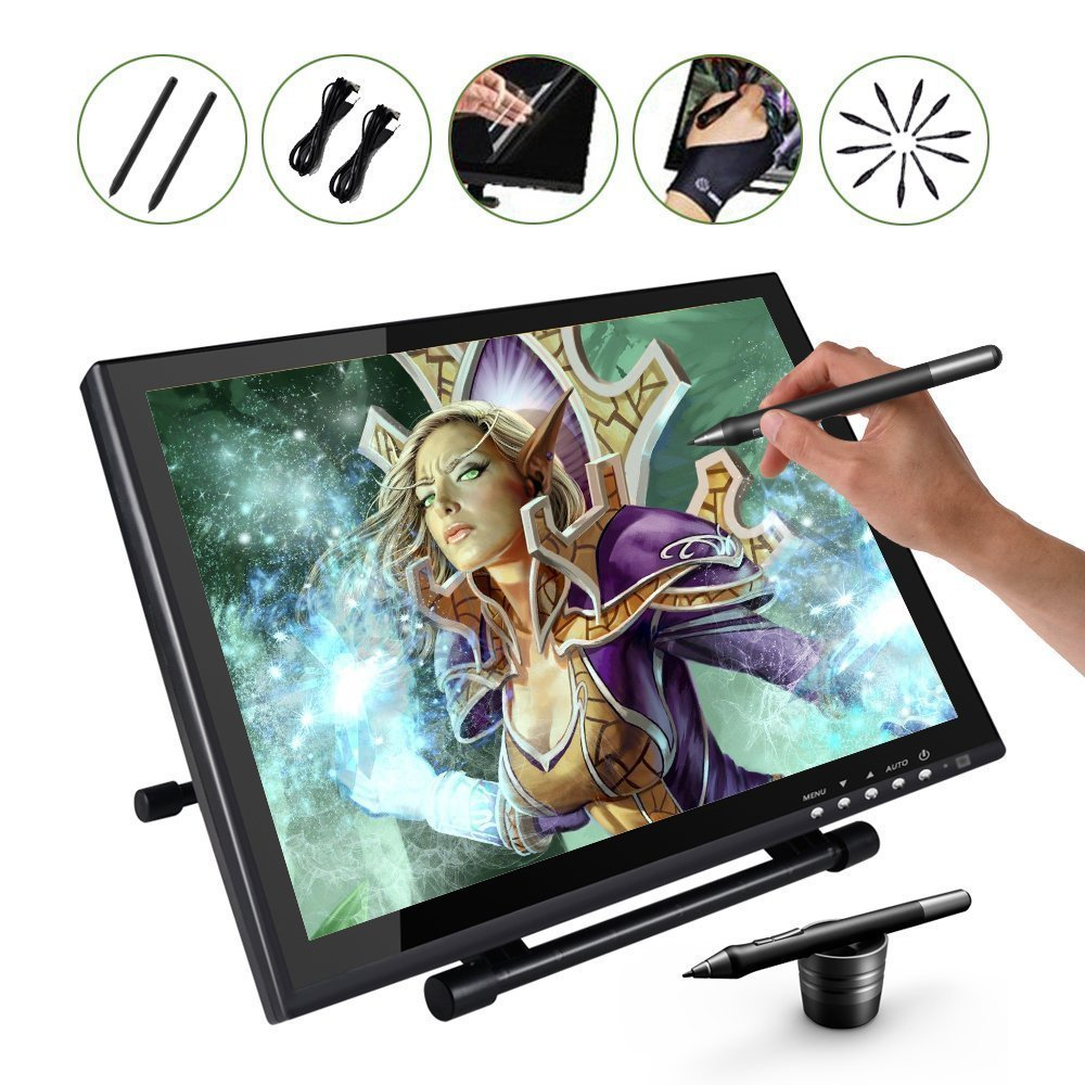 UGEE UG-1910B Professional 19 Inches LCD Monitor Art Graphic Tablet Drawing Digital Digitalizer Board + Glover+Screen Protector aputure digital 7inch lcd field video monitor v screen vs 1 finehd field monitor accepts hdmi av for dslr