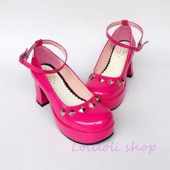 Princess sweet lolita shoes loliloli yoyo Japanese design custom large-size bright rose cute lace-up high-heeled shoes an4182