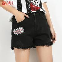 2017 Donne di Estate Jeans Shorts A Vita Alta Elastico Nero della Lavata Casuale Dritto Streetwear Lady Denim Breve Feminino Plus Size 6XL
