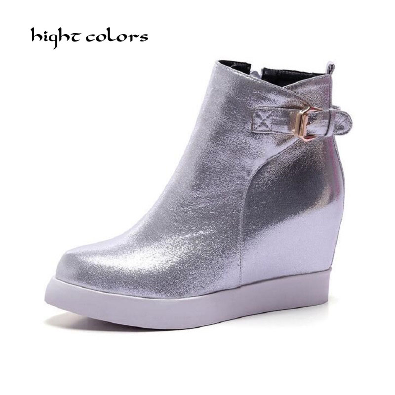 ( hight colors ) New 2017 Women Zip Ankle Boots Silver Gold Platform Shoes Woman Slip On Creepers Casual Height Increading phyanic gold silver wedges sandals 2017 new platform casual shoes woman summer buckle creepers bling flats shoes phy4040