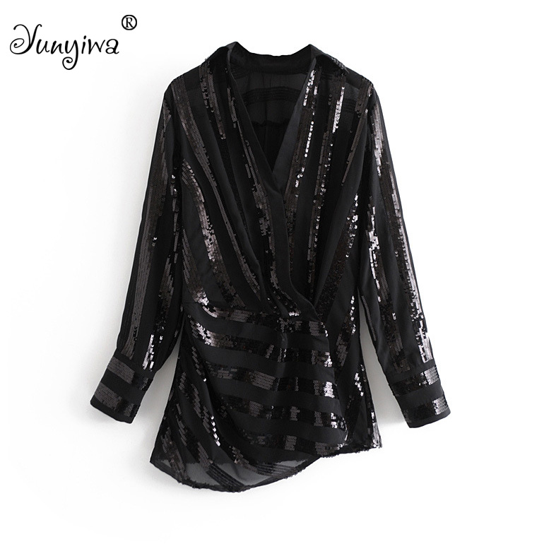 Women   Blouses     Shirts   Women's new sequins V-neck long-sleeved   shirt   Tops Blusas Mujer De