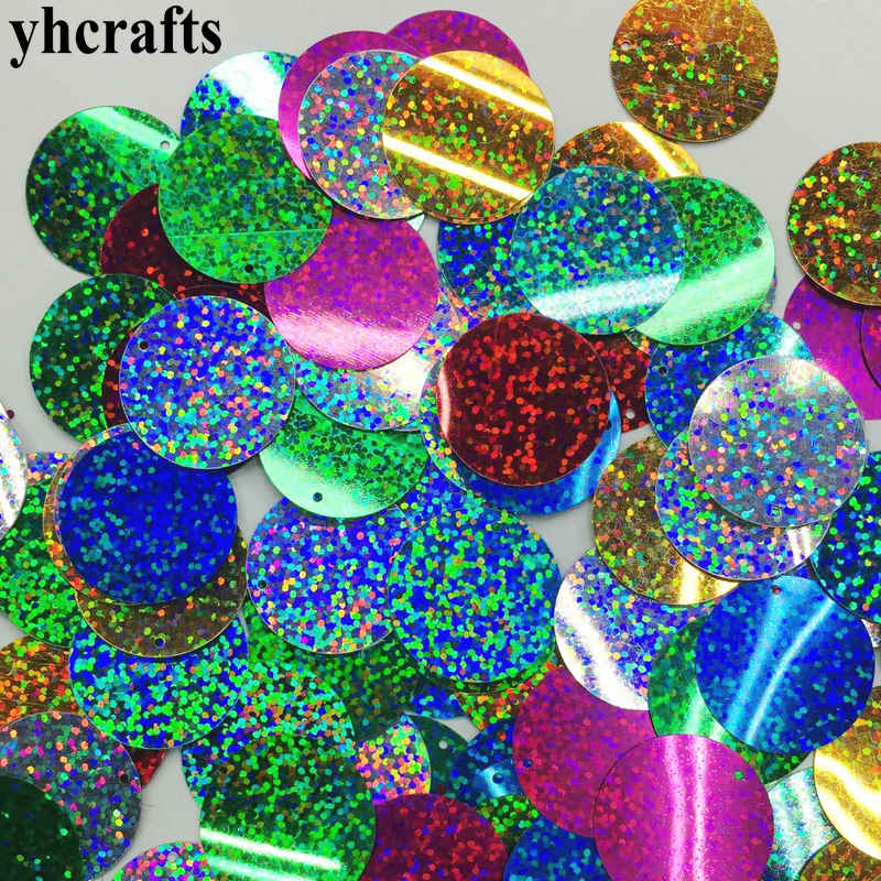 20gram/Lot. 30mm Laser Round With Hole Sequins Craft Material Kindergarten Crafts Creative Activity Items Make Your Own OEM DIY