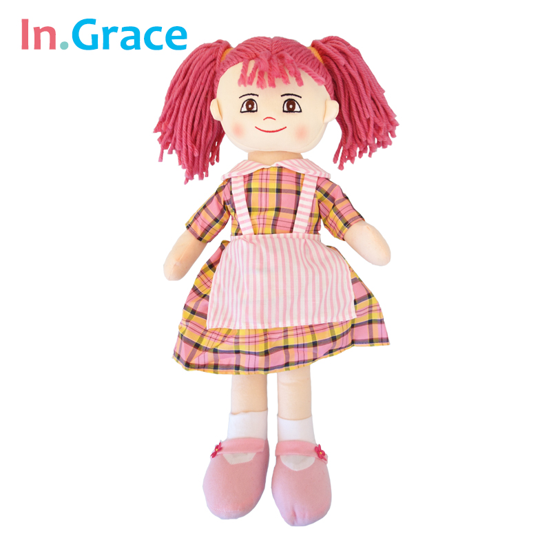 af0a4ef30 In.Grace 2016 super beautiful dolls for girls grid cloth dolls machine  washable safe for