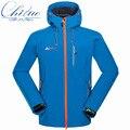 Мужская случайные капюшоном зимнее пальто куртки водонепроницаемый ветрозащитный композитный бархат Мягкая оболочка куртка