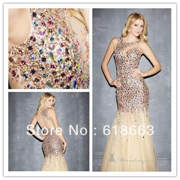 LE0025 High Quality Glitter Crystal Mermaid Long Evening Dresses ...