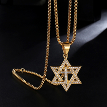 HIP Hop Gold Color Stainless Steel Full Rhinestone Bright Star of David Cross Necklaces & Pendants Men Jewelry