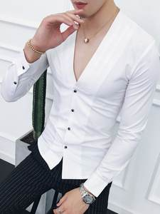 Dress Shirt Slim-Fit Long-Sleeve Black White Autumn Male Casual Fashion Red Solid V-Neck