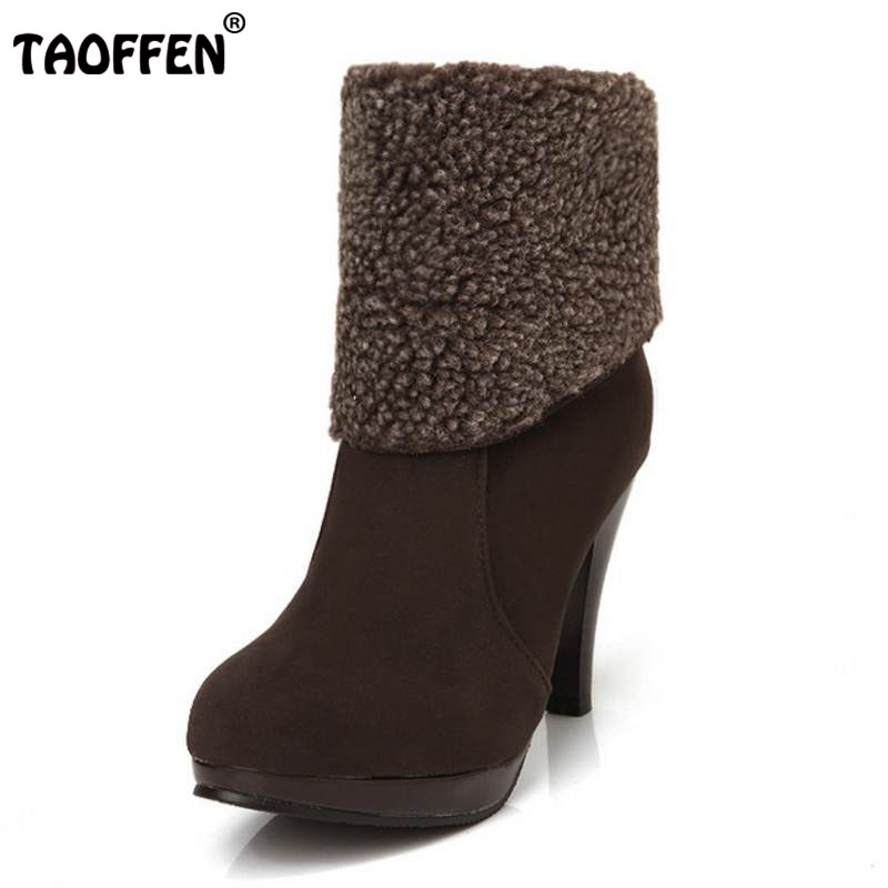 TAOFFEN Free shipping ankle boots women fashion short boot winter footwear high heel shoes sexy snow warm P8710 EUR size 34-39 serene handmade winter warm socks boots fashion british style leather retro tooling ankle men shoes size38 44 snow male footwear
