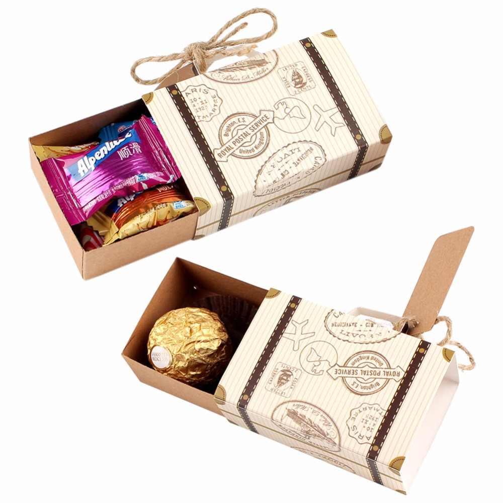 Ourwarm 10pcs Casamento De Papel Doces de Chocolate Caixa de Presente Mala de Viagem Saco de Presentes Para Os Hóspedes Do Favor Do Casamento da Festa de Aniversário Decoração