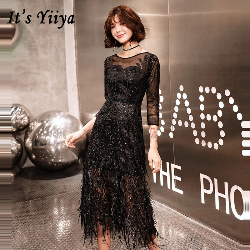 Prom     Dresses   Three-quarter Sleeve Short 2019 O-neck   Dresses   Women Party Sexy Night Plus Size Black Slim Vestidos De Gala E547