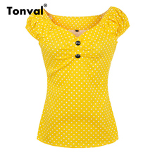 Tonval Cotton Dotted Vintage Blouse Shirt Women Off Shoulder Sexy V Neck 2017 Cap Sleeve Summer Tops Yellow Office Blouses