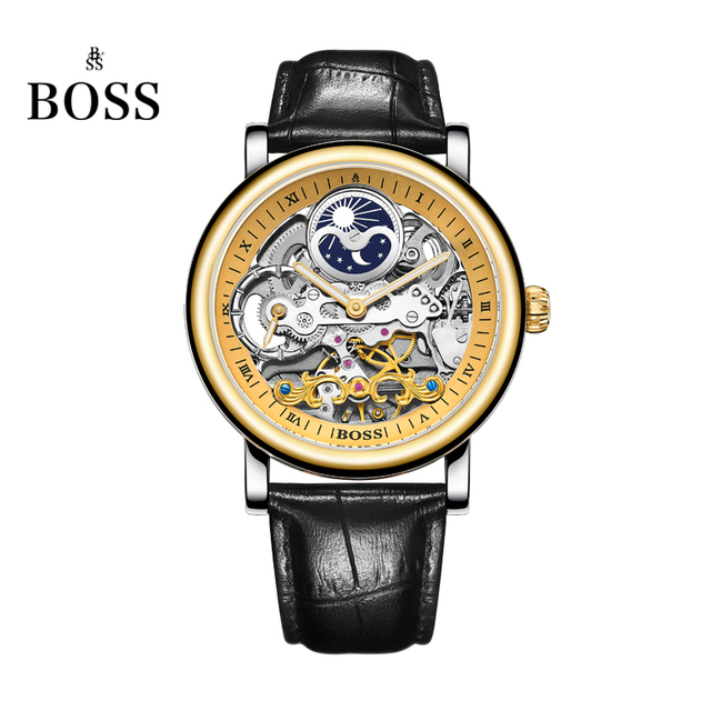 fc64b165fc5 BOSS Germany watches men luxury brand skeleton moon phase automatic  mechanical watch Earl Comte Graf series