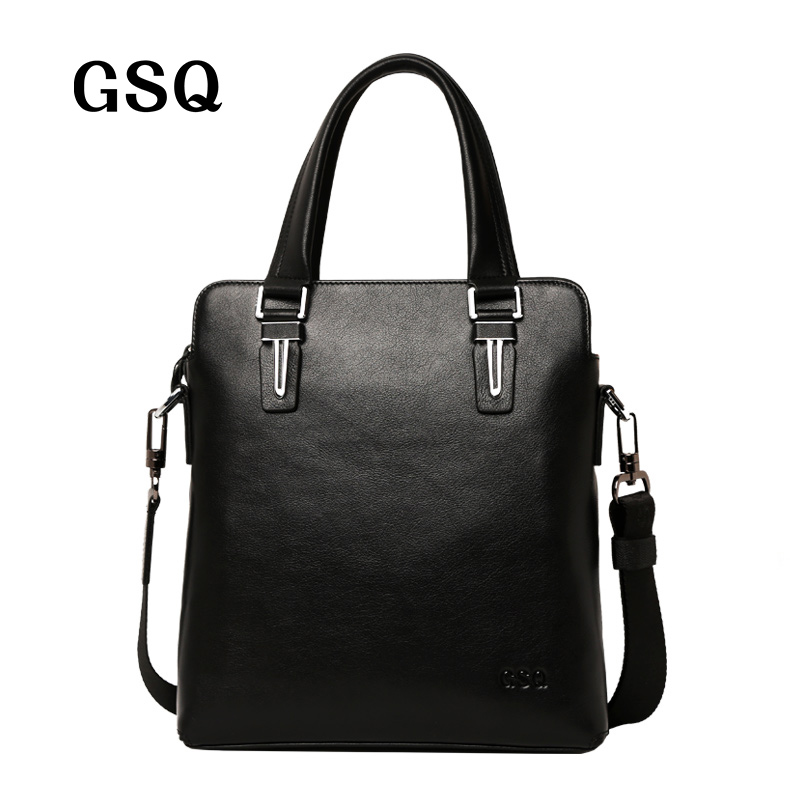 ФОТО GSQ Genuine Leather Men Handbag Zipper Style High Quality Real Leather Men Bag Single Strap Messenger Bag Business Briefcase