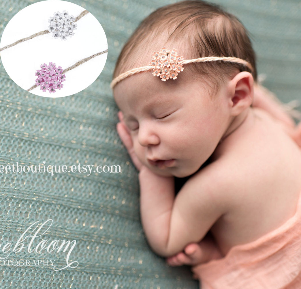 Yundfly Newborn Flower Rhinestone Headband Craft Decor Hemp Rope Hair Bands Baby Headwear Birthday Gift Kids Photo Props