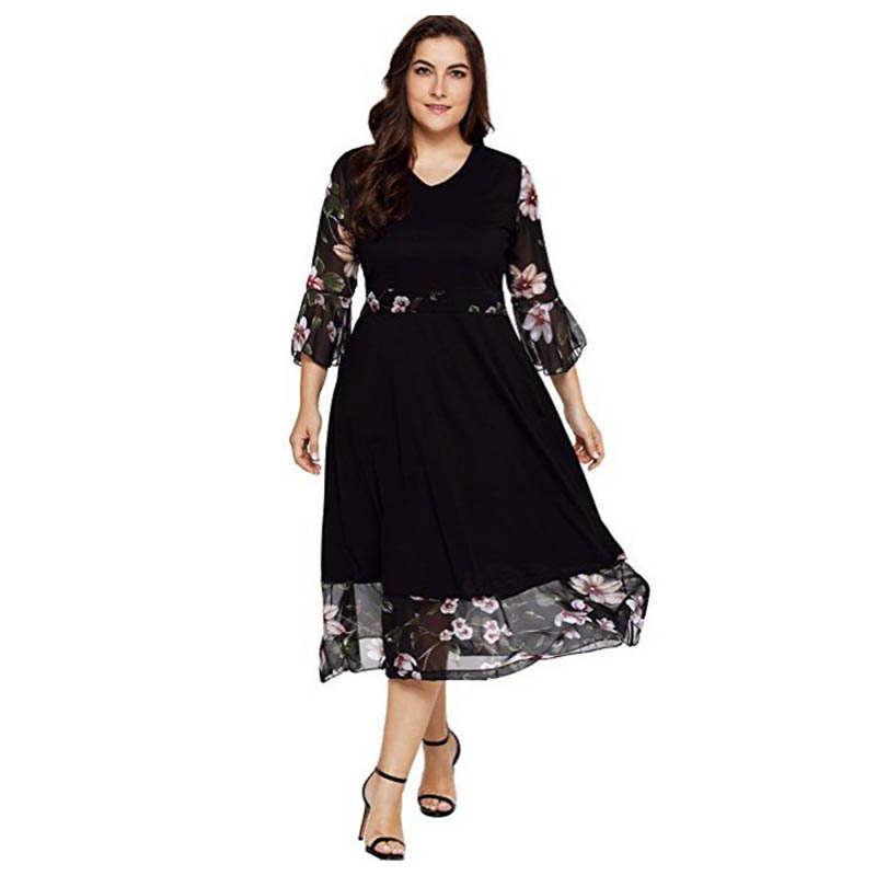 Black Dresses Large Sizes Sexy Patchwork Vintage Flower Embroidered Maxi Dress Flare Sleeve Plus Size Spring Autumn Floral Dress