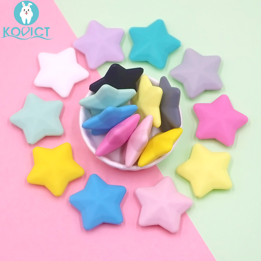 Kovict 5pcs/12pcs Thicken Silicone Star Beads 38*12mm BPA Free Food Grade Baby Teething DIY Pacifier Chain Rodent Pentagram Bead