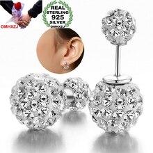 OMHXZJ Wholesale Fashion jewelry Not allergic The starry sky Two drill ball AAA zircon 925 Sterling silver Stud Earrings YS25
