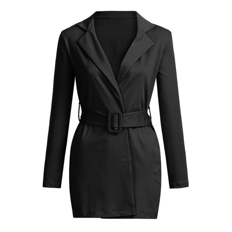 2018 Langarm Mode Beiläufige Lange Blazer Büro Dame Gürtel Blazer Frauen Mode Mantel
