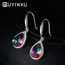 GUYINKU Luxury Rainbow Topaz Drop Earrings Genuine Solid Pure 925 Sterling Silver Wedding Jewelry Gifts For Women