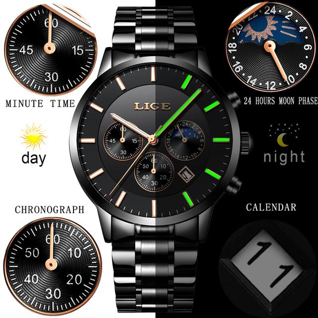 LIGE New Mens Watches Top Brand Luxury Men's Sports Military Watch Men Stainless Steel Waterproof Quartz Watch Relogio Masculino