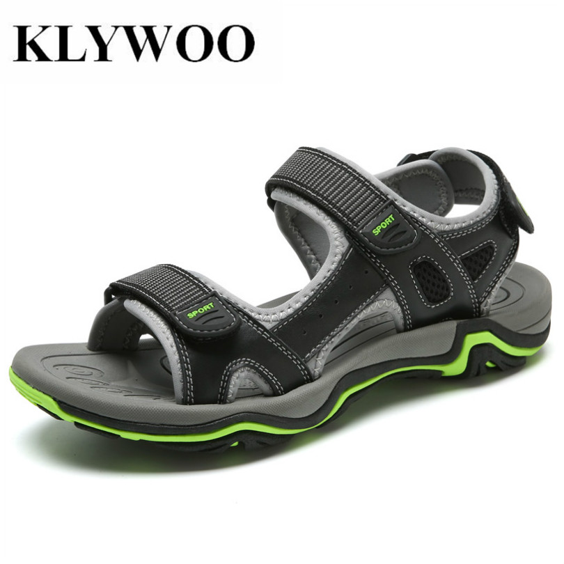 KLYWOO Big Size 45 Genuine Leather Men Beach Sandals Solid Hook & Loop Handmade Sandals Brand Mens Casual Shoes Zapatos Hombre