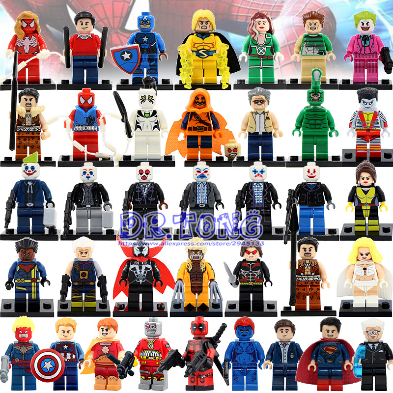 DR TONG 37pcs/lot Super Heroes Superman Deadpool Joker Assemble Set Models Building Bricks Blocks Toys Children Gifts dr tong 80pcs lot sy658 super heroes hulk superman thor batman ironman spiderman building blocks bricks diy toys children gifts