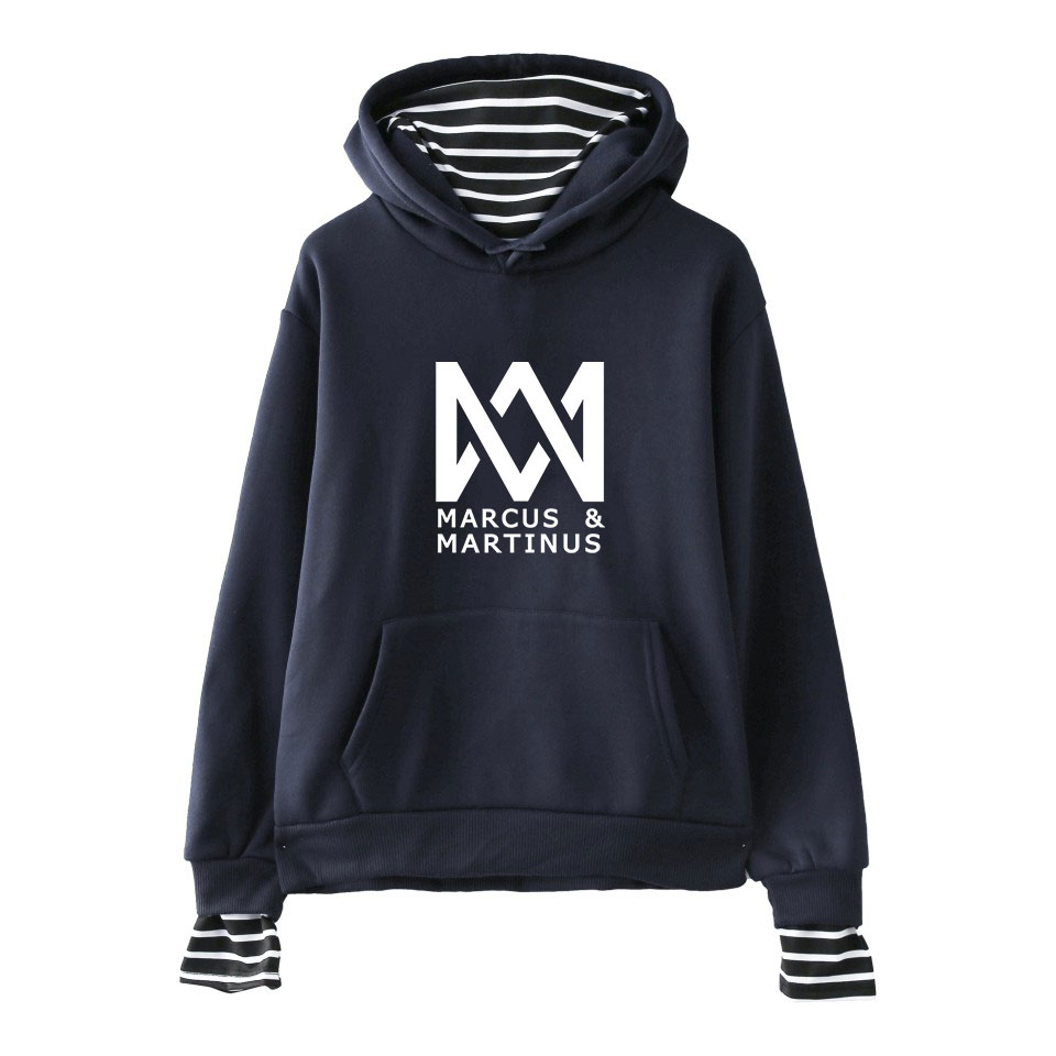 Marcus and Martinus Hoodie Sweatshirts Pullovers Tops Casual False Twp Piece Clothes Striped Hooded Hoodie Tumblr Pop Band Hoody