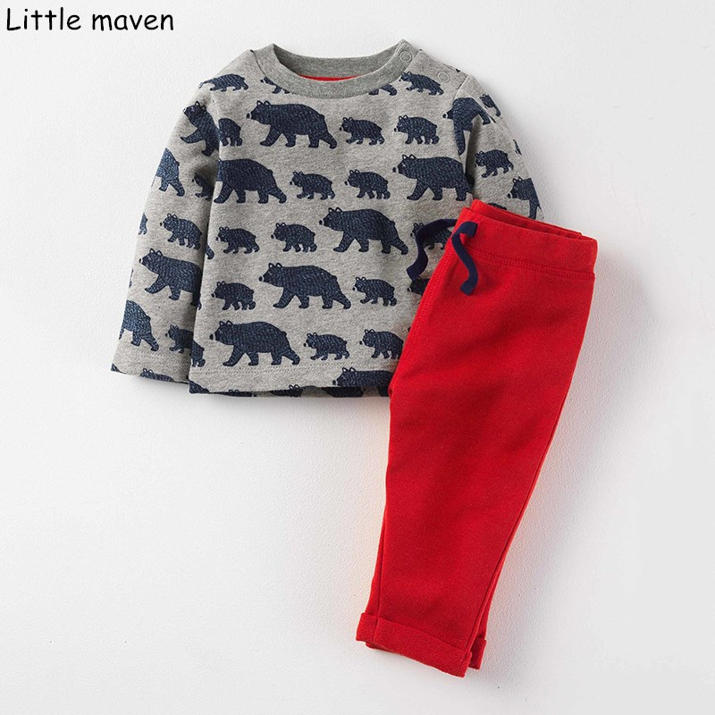 Little maven children's sets 2018 autumn boys terry brand long sleeve bear print Knitte thick t shirt + solid red pants 20137 casual print long sleeve t shirt ox pants twinset for boys