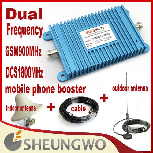Marketing direto Dupla Frequência GSM 900 MHz & DCS1800MHz + interior, antena externa + cabo de Telefone Móvel Impulsionador 1 conjuntos