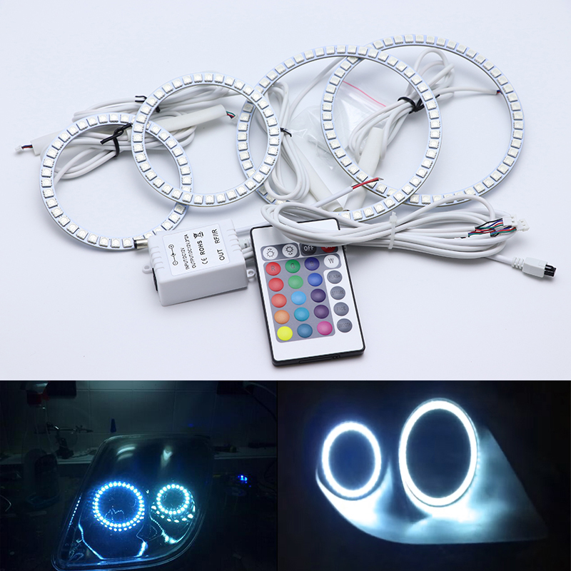 For Fiat Coupe 1993 1994 1995 1996 1997 1998 1999 2000 Multi color Led Angel Eyes Kit RGB Halo Rings Daytime Running Light DRL