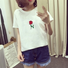 Summer Tshirts For Women O-Neck T Shirt Embroidery Woman Shirts Casual Short Sleeve Tshirt Top Oversize Tops