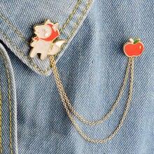 Oso de dibujos animados árbol de pino Lobo abuela Apple astronauta nave espacial broches metálicos Pin de botón Denim alfiler para chaqueta regalo de insignia de la joyería