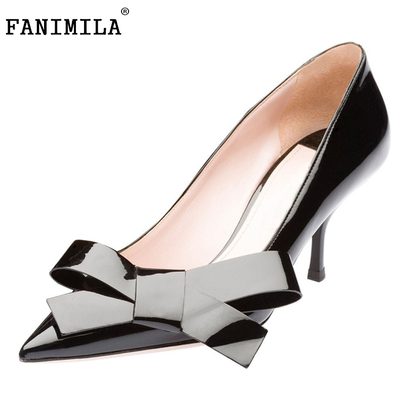 Woman High Heels Patent Leather Shoes Women Pumps Stiletto Thin Heel Pointed Toe Bowtie Heels Wedding Shoes Size 35-46 B183 bowknot pointed toe women pumps flock leather woman thin high heels wedding shoes 2017 new fashion shoes plus size 41 42