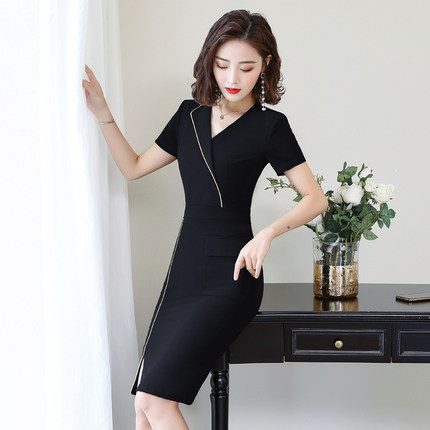 Work clothes women 2019 summer new style OL slim fashion commuter beautician skirt wrap buttock dress in Lab Coats from Novelty Special Use