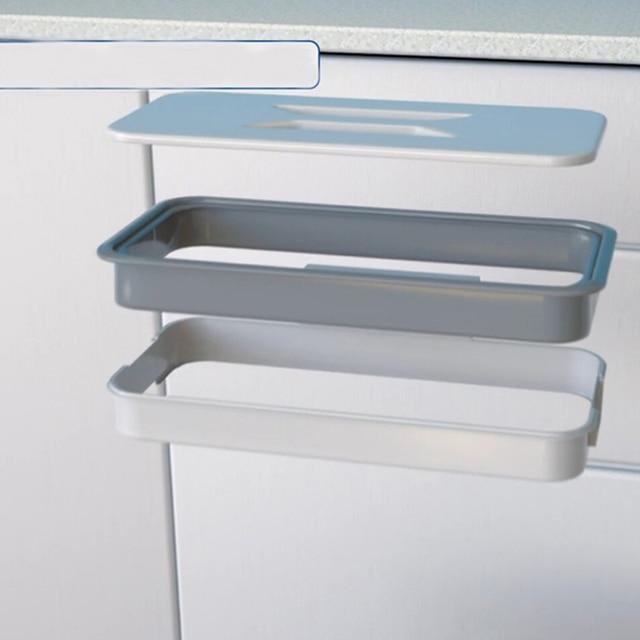 Hanging Garbage Bag Holder Kitchen Cabinet Storage Rack Stand Rubbish Bag  Towel Racks Cupboard Door Back
