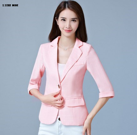 2017 Women Slim Short Formal Blazers and Jackets Woman Short Sleeve Plaid Suit Blazer Female Blazer Mujer Pink Blue Gray XXXL