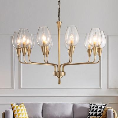 Nordic Full copper Living room Pendant lights Post Modern Simple Bedroom Blue glass lampshade American style Light luxury lamp