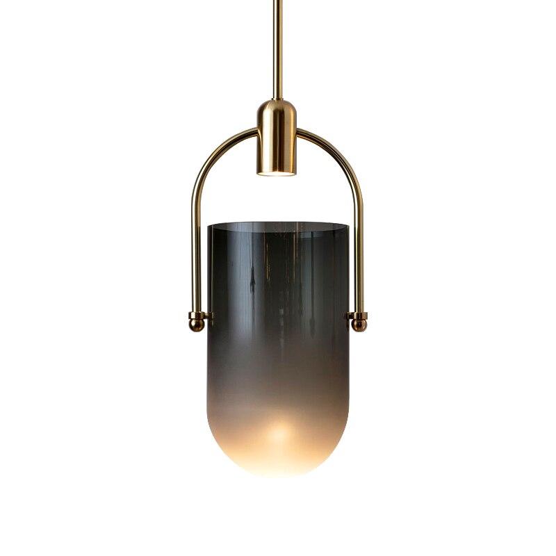 Nordique Simple Unique tête Pendentif lumières Fumée gris Givré blanc Verre Droplight salle À Manger Lit de chevet led Decorat Éclairage