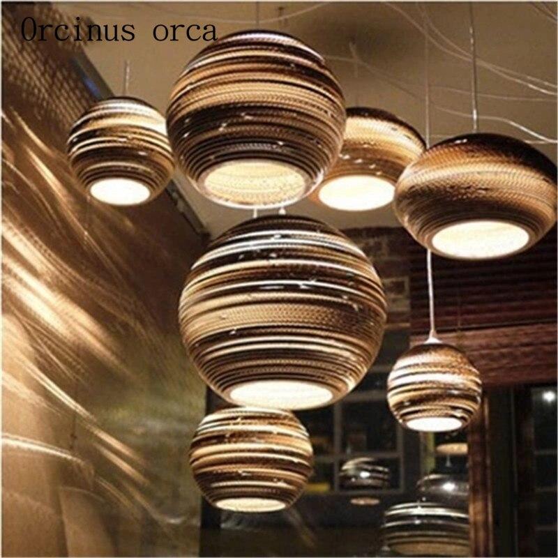 American Retro Pub Corrugated Paper Coffee Shop Nordic Creative Honeycomb Bare Single Chandelier