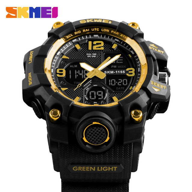 fe975edcffd Display Digital-Quartz Duplo Estilo G Choque Relógio Digital Militar Relógio  De Pulso Dos Homens