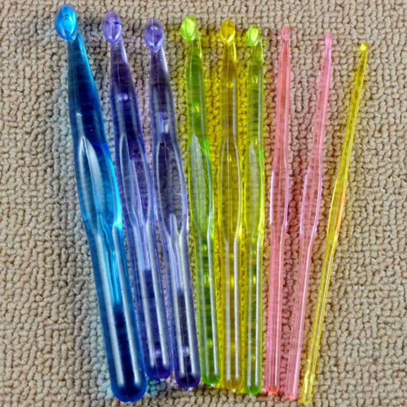 9pcs/set Plastic Crocheting Acrylic Crochet Hooks Needles 3mm,4mm,5mm,6mm,7mm,8mm,9mm,10mm,12mm