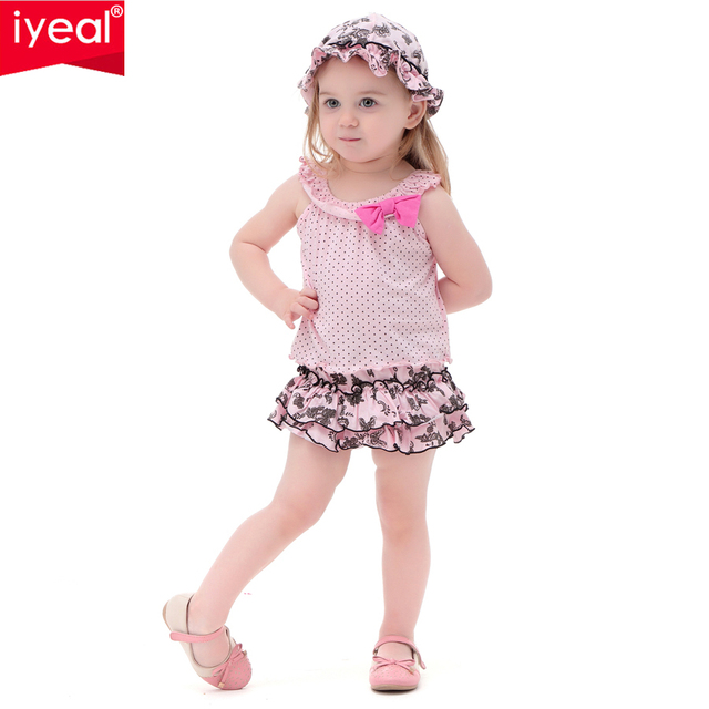 IYEAL Princess Baby Girl Clothes Set Summer Print Flower Skirt With Vest & Hat  Infant Cotton Suit Toddler Girl Outfits 3PCS/Set