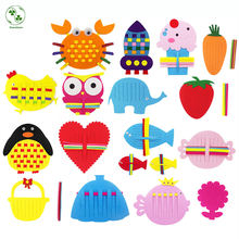 13 Styles Creative Felt Puzzle Teaching Toys Kids Handmade Fabric Knit Craft Kindergarten Learn To Weave Felt Cloth Craft(China)