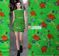 2018 Dress, coat, autumn Heavy silk silk cloth chain rose green bottom dress coat autumn DIY fashion fabric